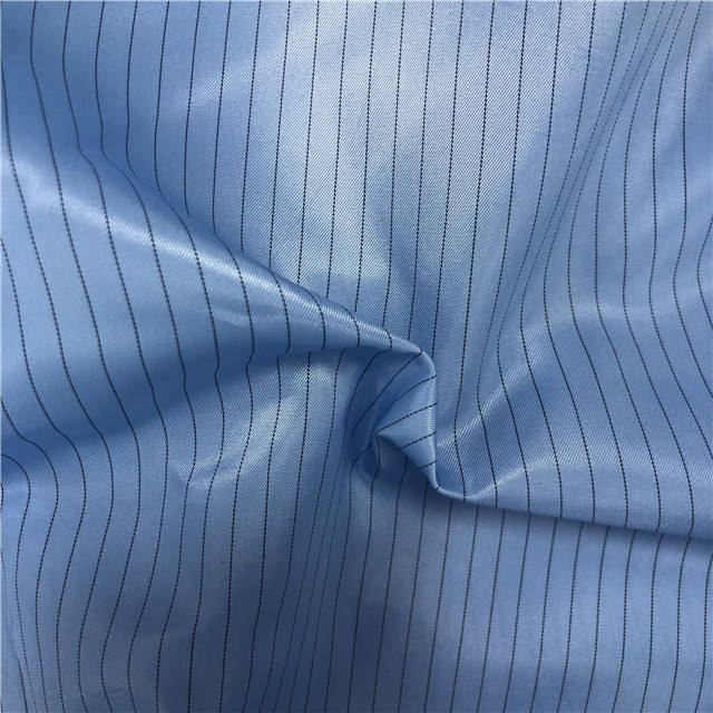 Work Wear Clothes Uniforms Material 100% Polyester Plaid Electrically Conductive Fiber Fabric for clean room workwear