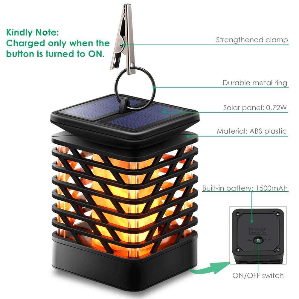 Hot selling outdoor waterproof portable black Hanging flame solar garden light