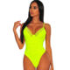 Wholesale Ruched Design Neon Yellow Womens Lace Sexy Thong Bodysuit