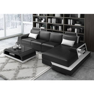 Luxury Design Small Cheap Leather Sectional I Shape LED Light Sofa