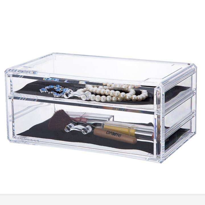 Factory Wholesale Beauty Cube Acrylic PS Cosmetic Organzer Desktop Jewelry Storage Box Makeup Organiser Transparent with Drawers