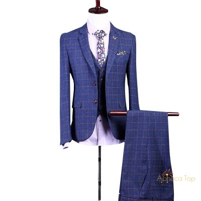 APHACATOP 2020 Wholesale Mens Checked Suit Plaid Tuxedo