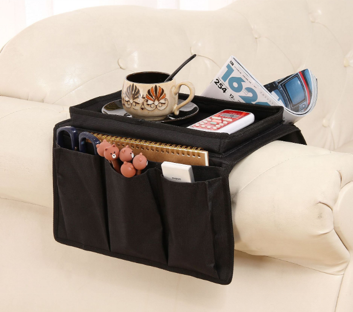 TV Remote Control Organizer Holder Couch Armchair Caddy for Recliner as Arm Chair Organizer with Pockets for Snacks Glasses