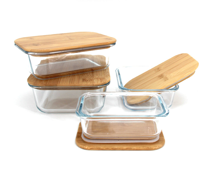 wholesale eco friendly portable microwave electric heated bento kids food storage tiffin container glass bamboo lid lunch box