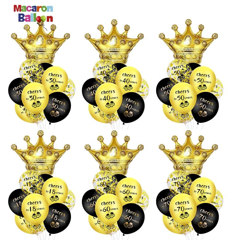 Cheers to 30 40 50 60 Years Birthday Decorations 9pcs Balloons with Crown for Happy 30 Year Old Theme Bday Party Supplies K636
