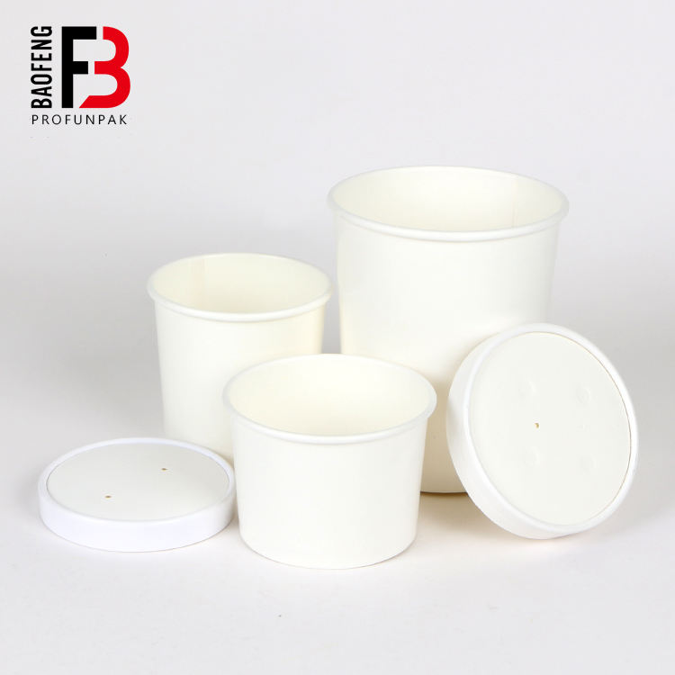 hot soup paper bowl disposable white greaseproof and water proof food container