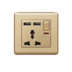 Quality champagne gold home wall switch socket light switch USB socket 1 2 gang