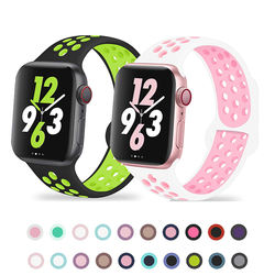 Silicone Strap For Apple watch band 44mm 40mm 42mm/38mm Breathable for iWatch 42 40 bracelet for Apple watch series 5 4 3 44mm
