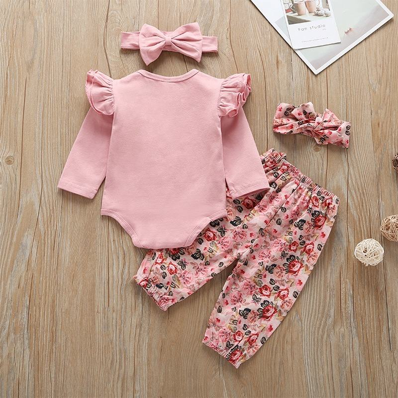 Fashion baby clothes set with hair band long sleeve baby clothes girl clothing set