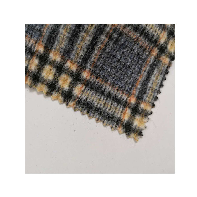 high quality grey light plaid woven wool blend fabric in stock
