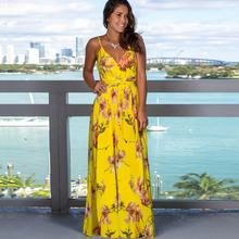 2020 New Arrival Floral Print Sexy Deep V Neck Sling Backless Summer Beach Dresses For Women Wholesale China