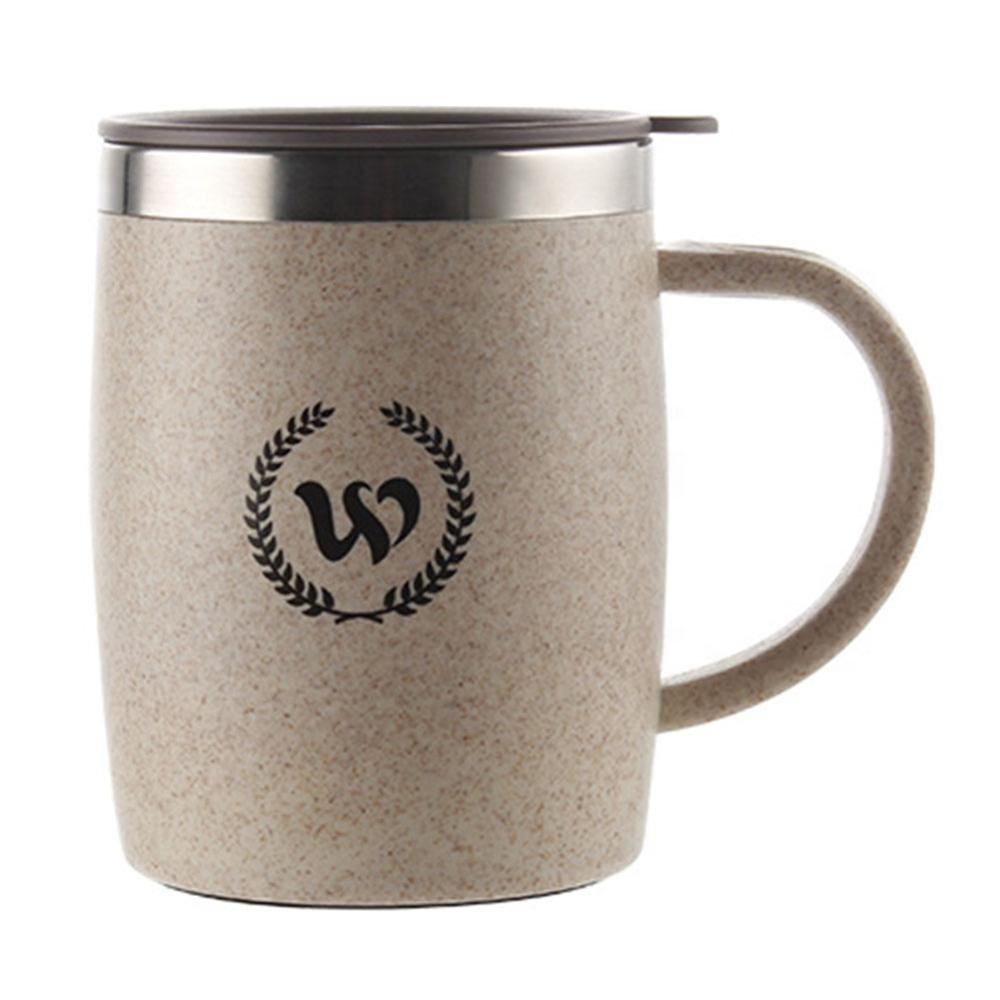 420ml Custom Logo Vacuum Stainless Steel Wheat Straw Coffee Mug with Lid
