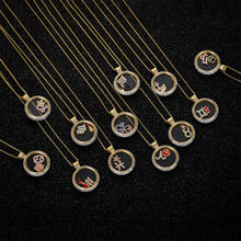 01049 Crystals from Swarovski women gender personalized initial jewelry 12 constellations pendant zodiac necklace