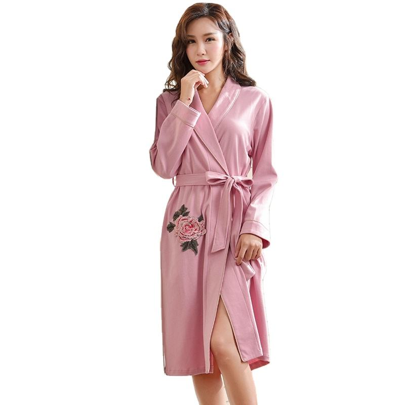 Luxury Rose Embroidered Pink Robes New Fashion Women Homewear Bathrobe 100% Pure Cotton Quality Brand Stitch Belt Kimono Women