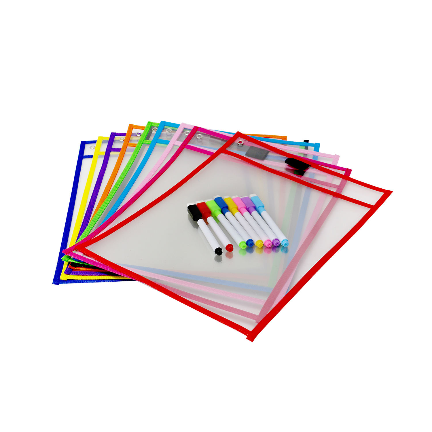 Assorted Colors PVC 6 Pack Reusable Sheet Protectors Dry Erase Pockets Sleeves for School or Work