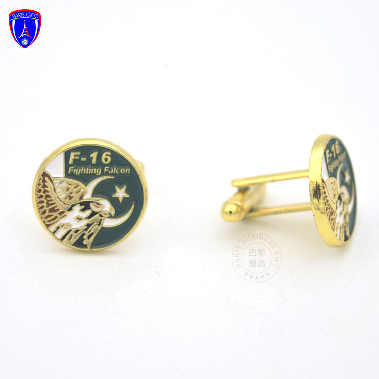 manufacturers hot selling cheap unique men custom cufflinks of fighting falcon