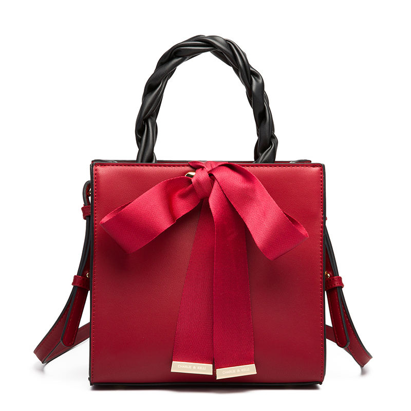 Ladies bridal red bag bowknot silk scarf handbag Art Purse Diamond Lattice PU Vegan Leather Shoulder Bags for Women Purses