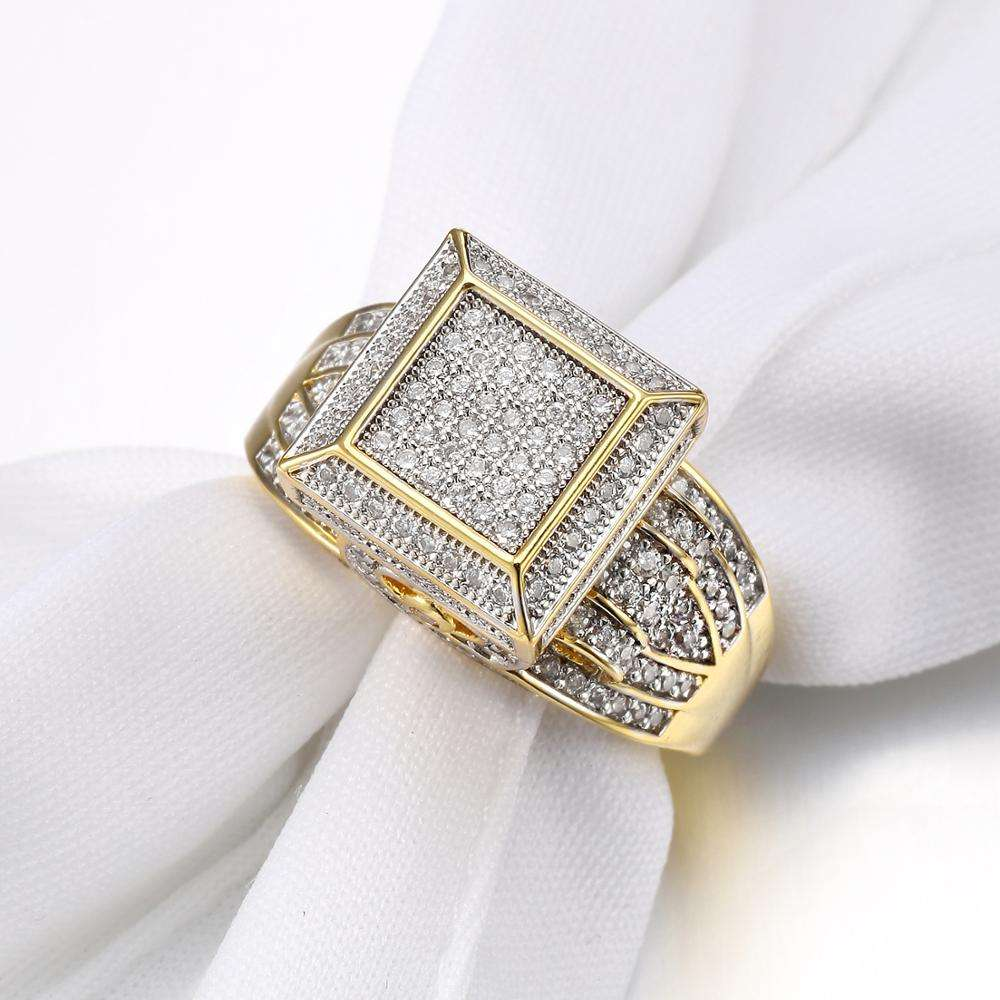 JASEN JEWELRY Latest Designs Hip Hop Gold Plated Silver Ring or Classic Zircon 925 Sterling Silver Wedding Ring For Men