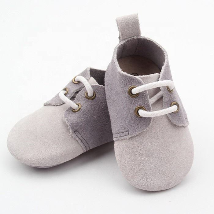 OEM Manufacturer Custom Handmade Soft Sole Suede Leather Infant Baby Oxford Shoes