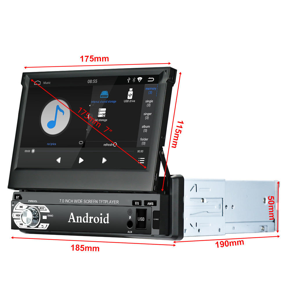 "Android 8.0 Auto Dvd Speler 1din Autoradio 7 ""Radio Stereo Gps Wifi Bt Touch Screen Mp5 Afneembare Panel + camera"
