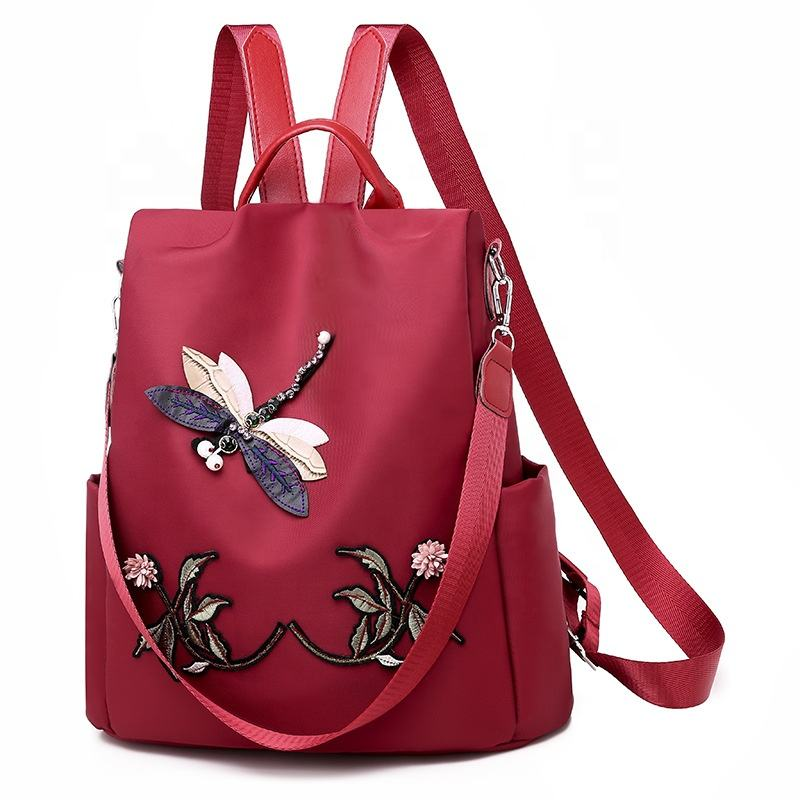 custom Chinese style big capacity floral outdoor travel women 3d dragonfly flower embroidery backpack