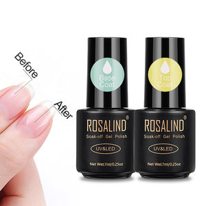 Rosalind oem custom private label nail art tools 7ml no wipe clear base coat and top coat soak off uv gel polish for wholesale