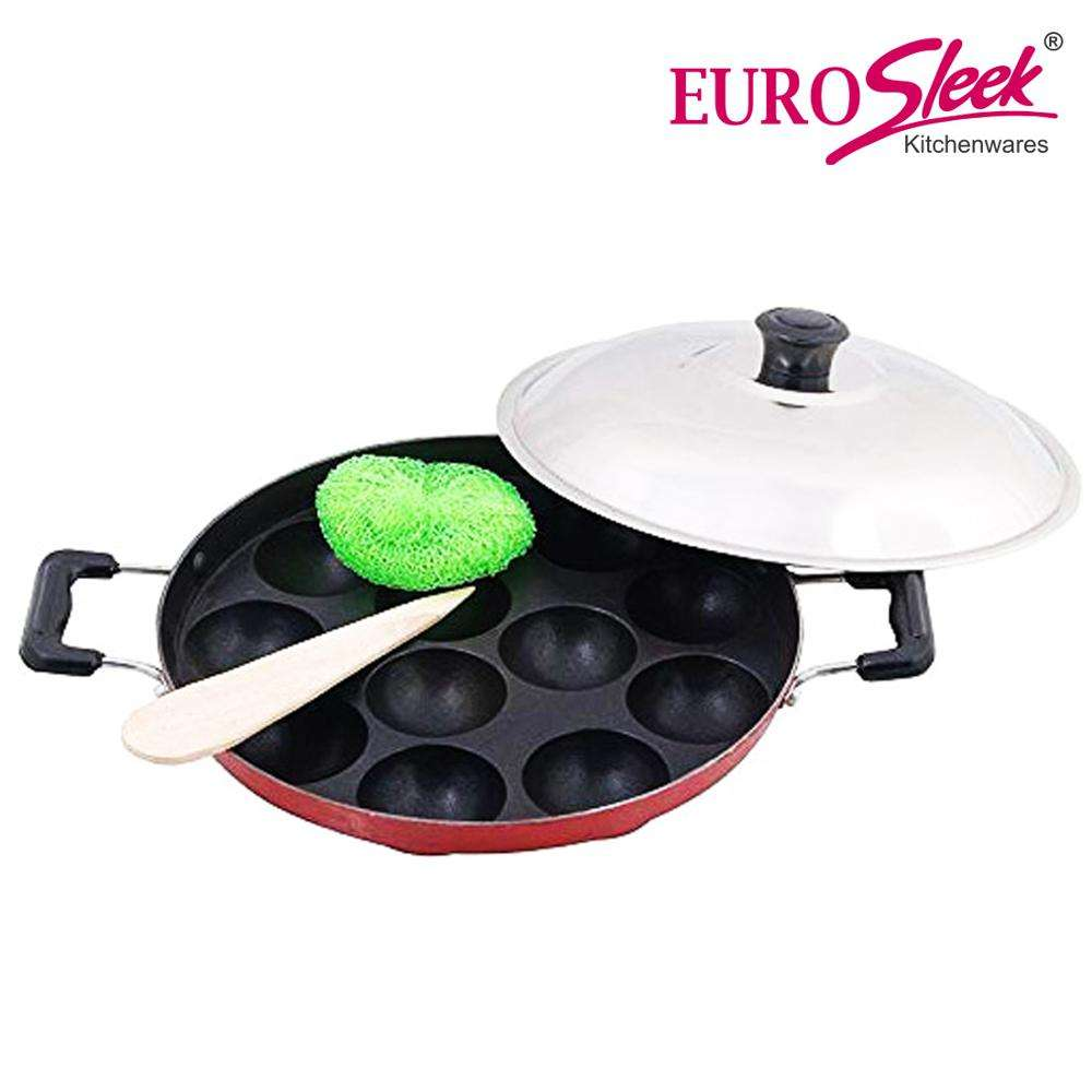 Eurosleek 12 cavity Appam Patra with Handle & Lid