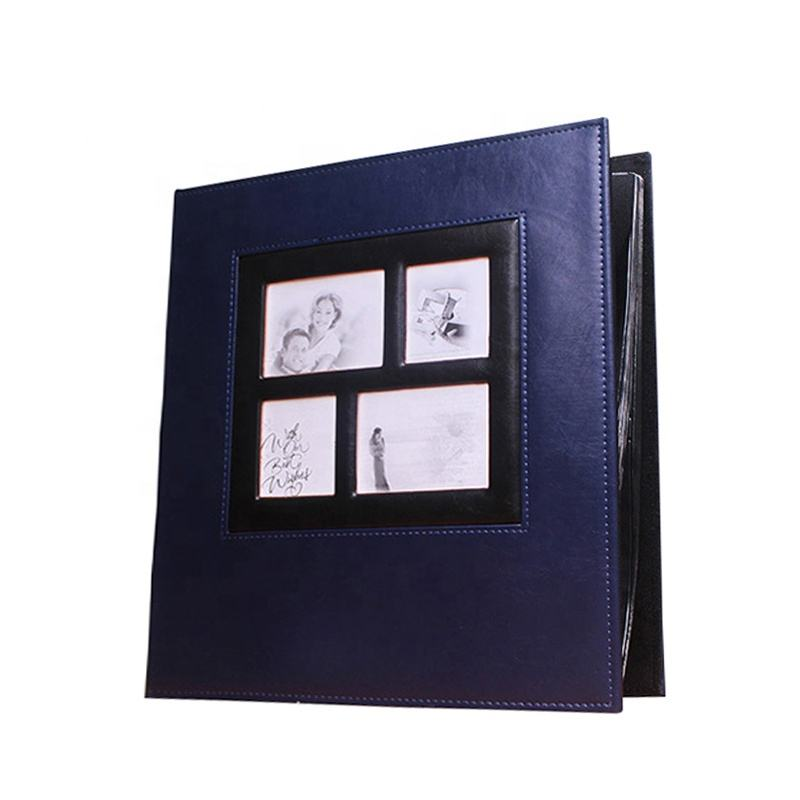 Luxury Latest Dark Blue Leather Wedding Photo Albums 6x4 400
