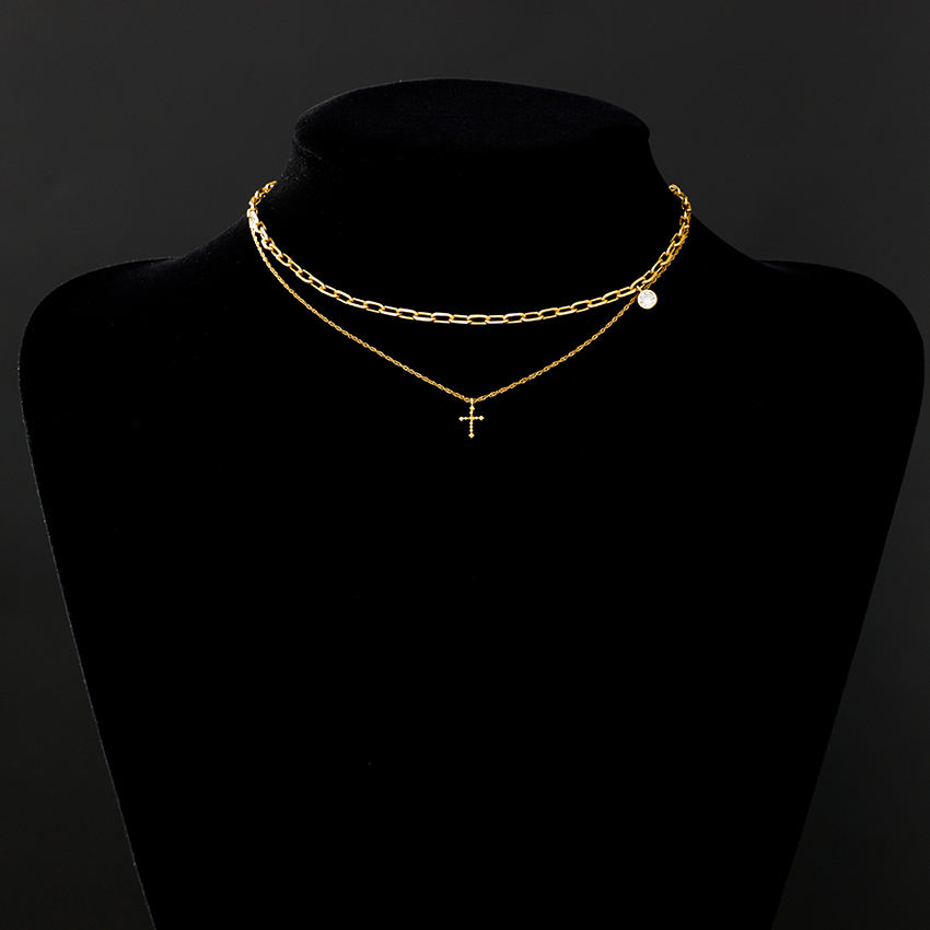 18KリアルGold Dainty Heart Cross Butterfly CZ Heart Pendant Layered Gold Strand String Religious NecklaceためWomen