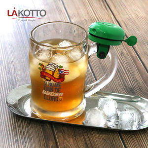 Hot Sale creativity 400ml Clear Cheap Transparent Glass Mug Beer Glass Cup Glasses with bell