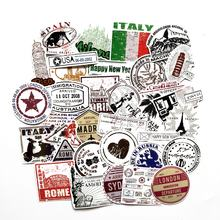 60 Pcs No-repeat travelling style Waterproof Stickers Postmark Stamps Labels For Car Bike Laptop Skateboard Decal