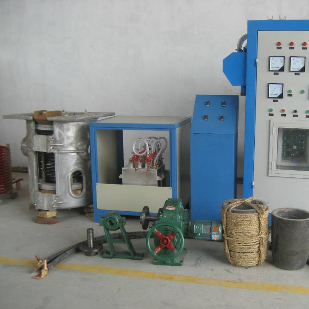 120KW/200KG Induction Melting Furnace with a tilting pouring box for melting copper/bronze/brass