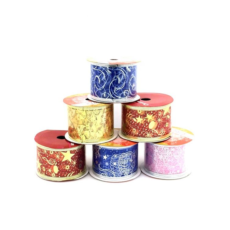 Wholesale 2.7m Christmas ribbon glitter gift packaging tree decorating wired christmas decoration