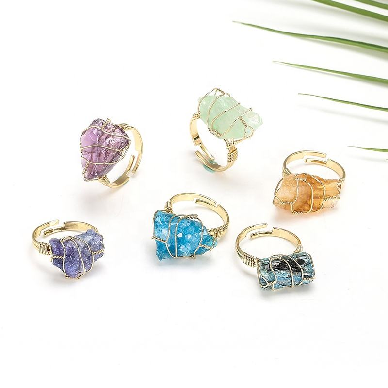 Hand Wire Wrap Mineral Ring Druzy Natural Crystal Quartz Rough Stone Rings Jewelry