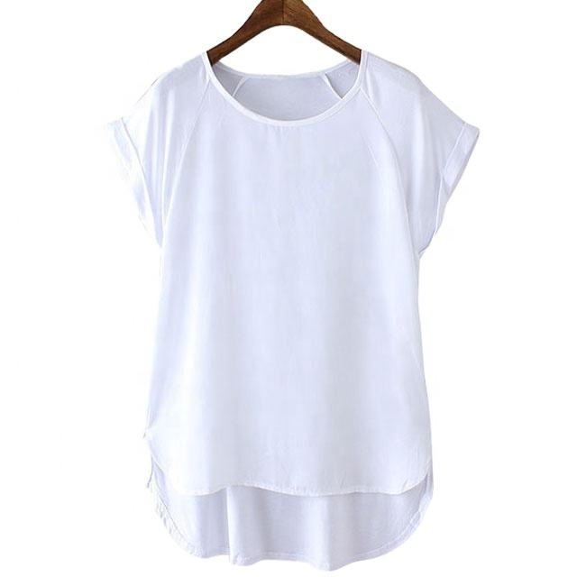 High quality cotton spandex rolling up sleeve curved hem blank t shirt women