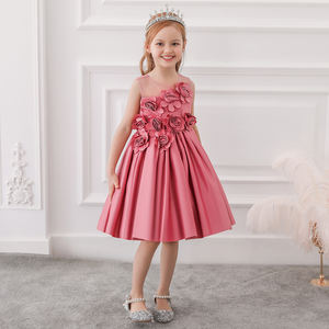 Wholesale Flower girl dress party wedding birthday kids clothes elegant baby girl dress sleeveless frock L5068