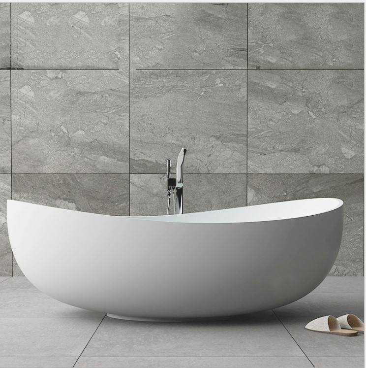 custom size piscinas round artificial stone stand alone soaker tub cast stone resin composite solid surface bathtub