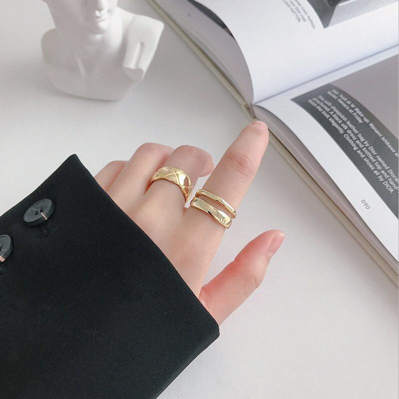 Silver Plating Gold Jewelry 925 Sterling Silver 18k Gold Plated Lines Fine Jewelry Minimalist Rings
