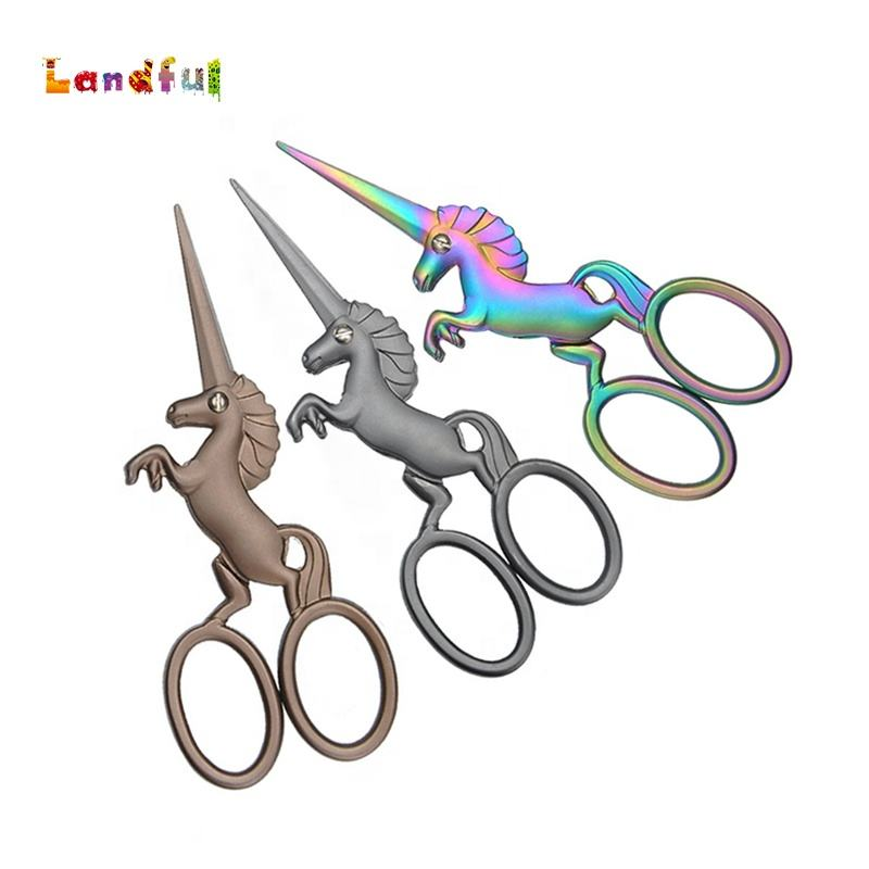 For Sewing Trim Household Tailor Scissors Handmade Fabric Hair Retro Vintage Cutting Thread Scissors Unicorn Tailor Scissors