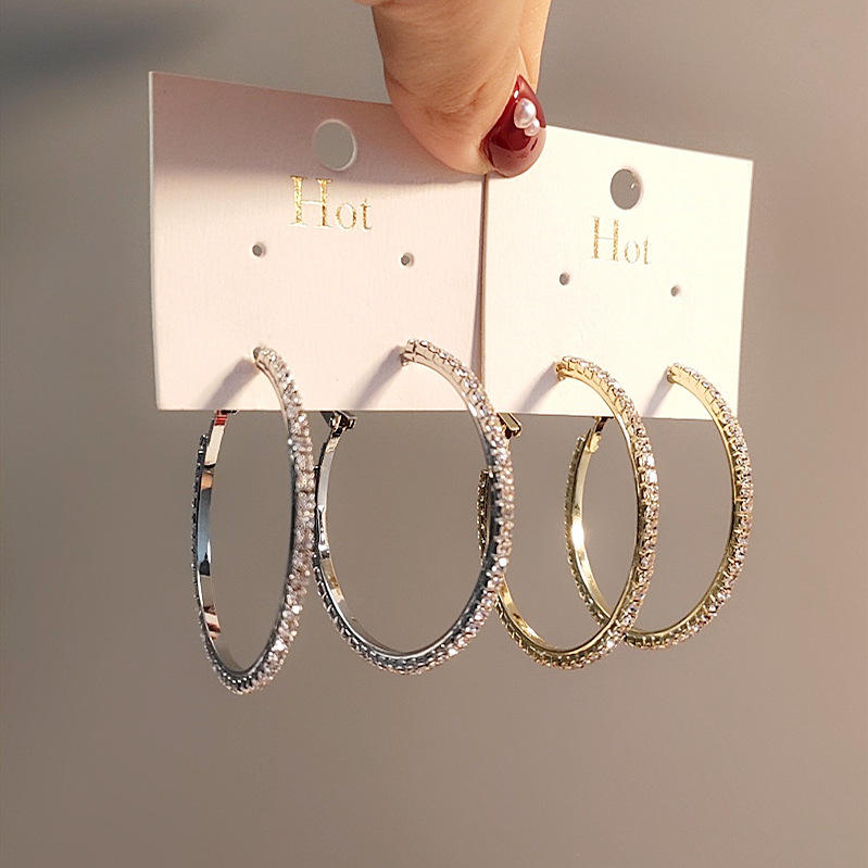 Fashion New Trendy Rihanna Style Big Large Gold Plated Crystal Diamond Hoop Earrings