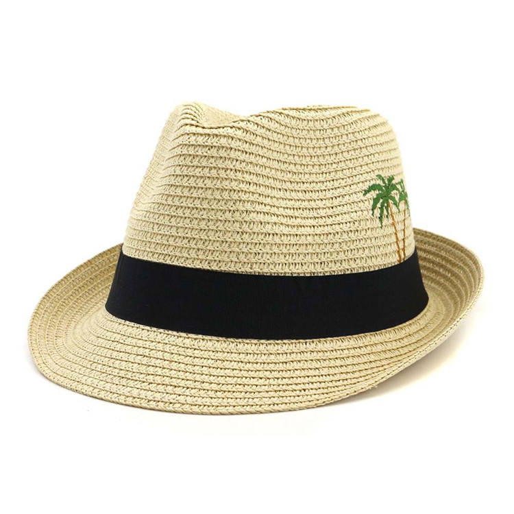 X1377 Unisex Jazz Hats Sunscreen Hat Wide Brim Summer Panama Hat Promotion Paper Straw Panama Caps Adjustable Size