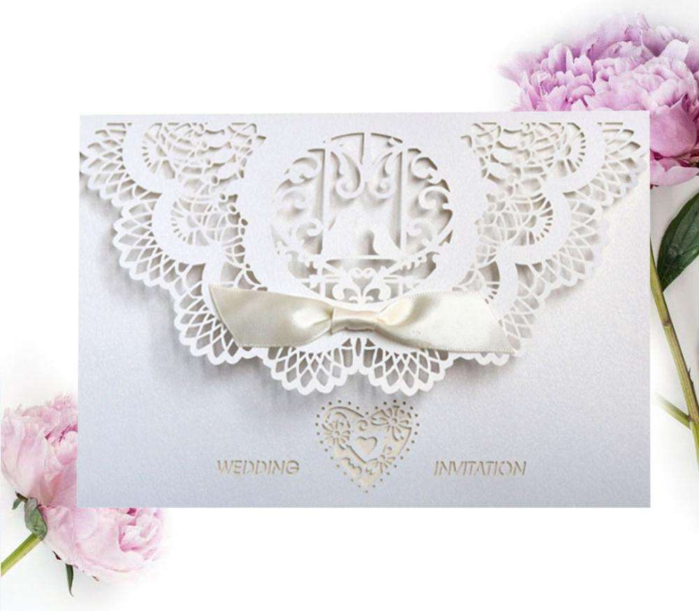 Wedding Invitations White Kraft Paper Cut Luxurious Card With Envelope