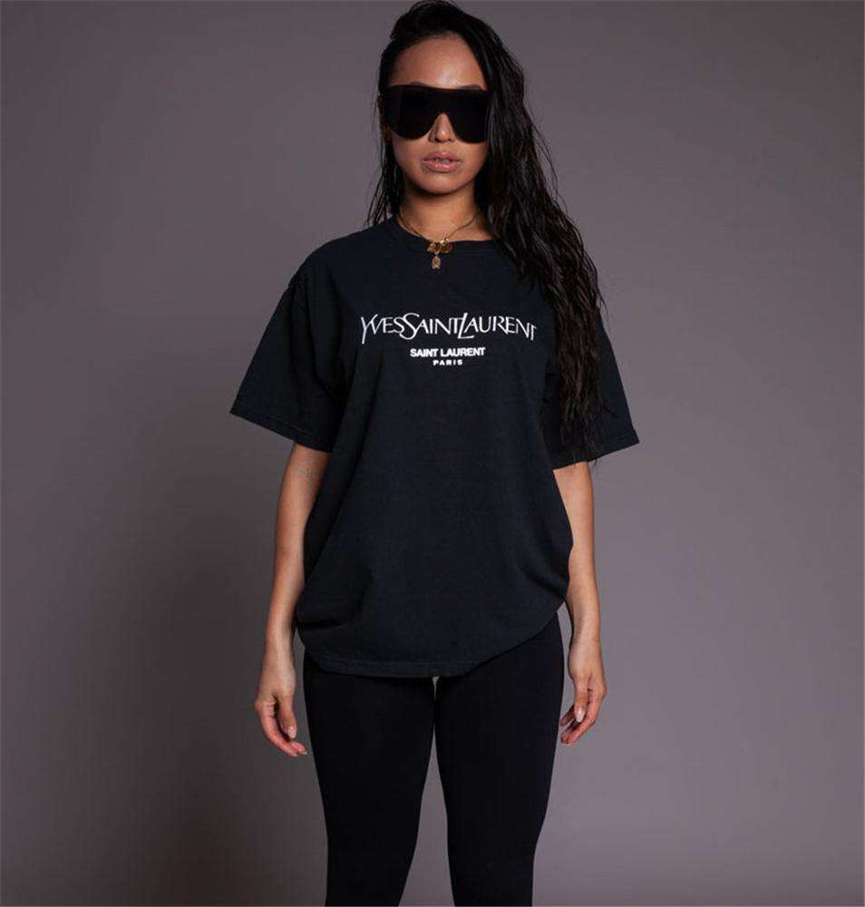 8055 Oversize Ladies Fashion New Tops Women Clothing 2019 Black Wholesale Cotton T Shirt