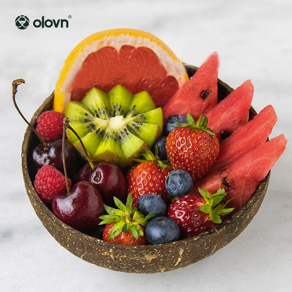 Natural Coconut Bowl With Spoon Wholesale Safety Nut Plate für Living Room Retro Fruit Bowl mit Spoon