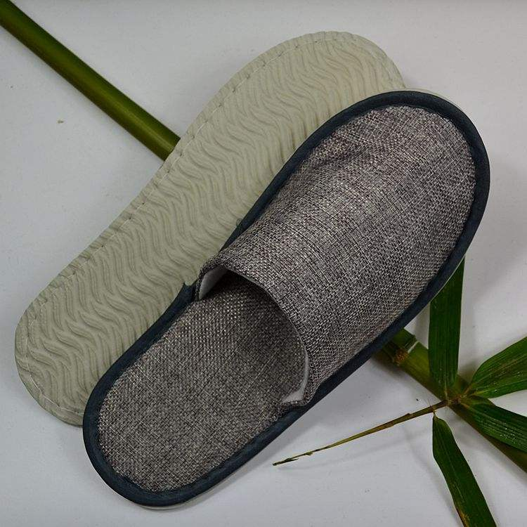 China factory new design high quality 5 star linen comfortable cheap bedroom hotel bathroom slippers