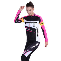 Women Cycling Jersey Long Sleeve Custom Sublimated Cycling Wear 100% Polyester Cycling Clothes and Gel Pad Bike Shorts Sets