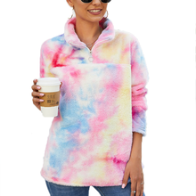 2020 RTS Tie-dye Sherpa Rainbow Fleece Hoodie Candy-color Sherpa Pullover for Women