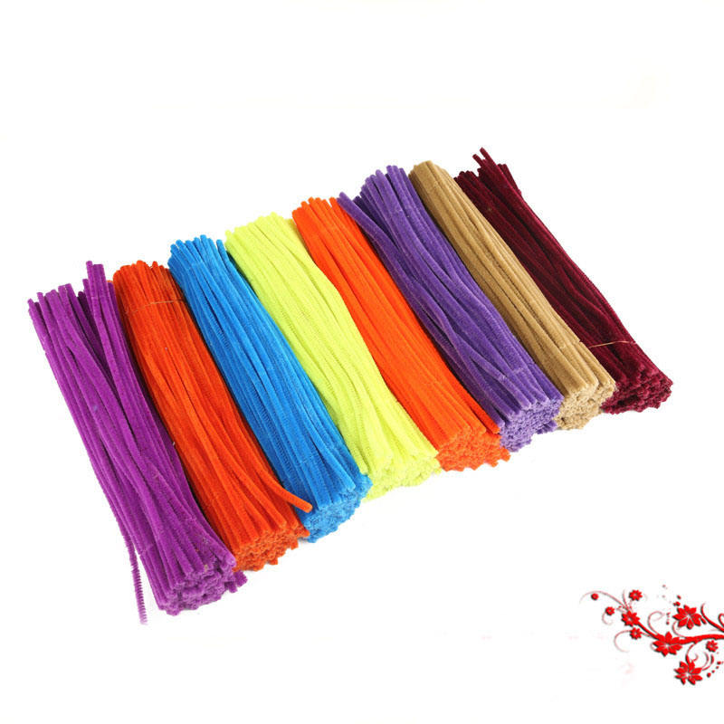 Assorted colours 6mm*12inch DIY curly chenille stems pipe cleaners