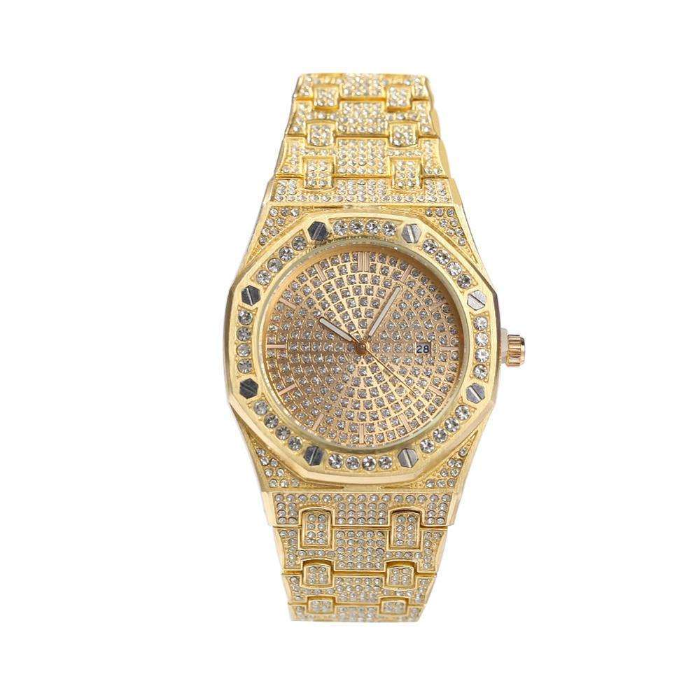 2019 trendy Bling hip hop watch Mens Watches Top Brand Stainless Steel Luxury Full Diamond Iced Out Gold Quartz Wrist watch