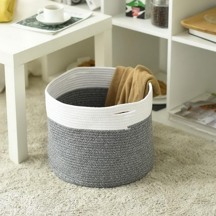 2017 New Style Fashionable Grey Cotton Rope Organizer Basket